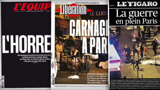 """Okładki gazet po zamachach. """"Horror"""", """"Paryska rzeź"""", """"Tym razem to wojna"""""""