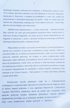 Odpowiedź prokuratora okręgowego na pismo prokurator Anny Hopfer