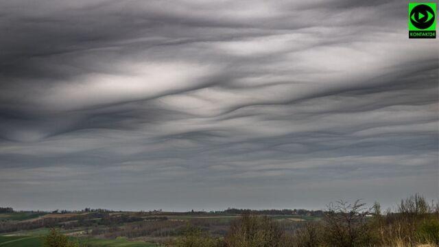 Asperitas clouds in the sky in Subcarpathian Voivodeship in southeastern Poland