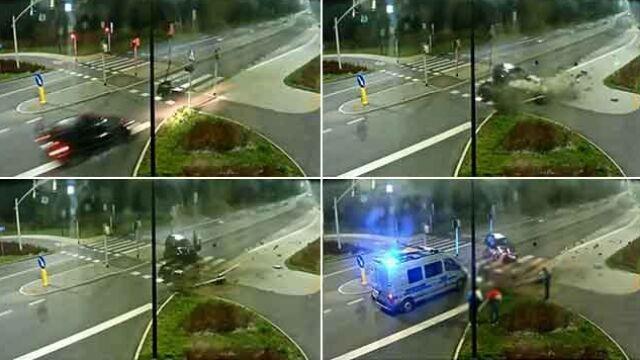 Skosił sygnalizatory przy przejściu dla pieszych