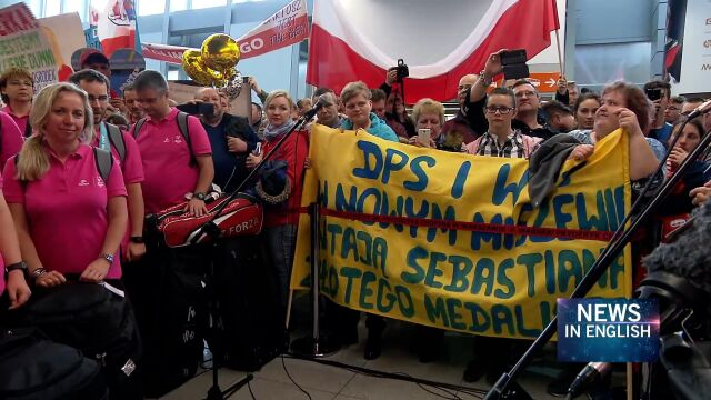 Supporters have prepared a warm welcome at the Warsaw Airport for the heroes of the 2019 Special Olympics