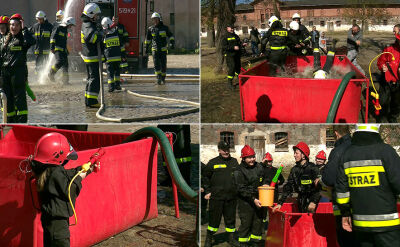 Lany poniedziałek w Przelewicach. Bitwa wodna Straży pożarnej