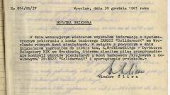 """Notatka urzędowa prokuratora wojewódzkiego z 30 grudnia 1981 roku – pierwszy sygnał, że z kontem dolnośląskiej """"S"""", formalnie zdelegalizowanej, dzieje się coś dziwnego"""
