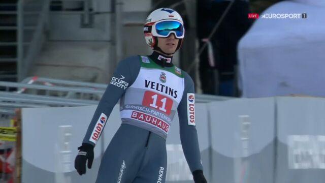 Skok Kamila Stocha z 1. serii konkursu w Garmisch-Partenkirchen