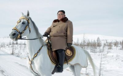 Kim Dzong un na konnej wyprawie z żoną