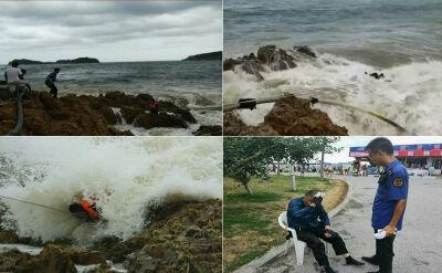 Fale uwięziły rybaka. Na pomoc ruszyli plażowicze