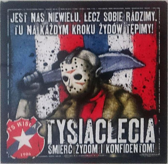 """Wlepki kiboli w w toalecie knajpy """"U Wiślaków"""" w hali Wisły Kraków"""