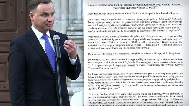 """Były wiceprezes TK apeluje do prezydenta  o """"wyjaśnienie szokujących oskarżeń"""""""