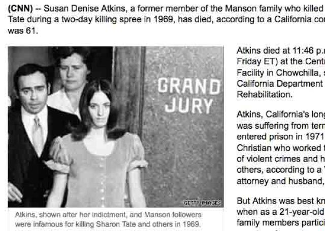 Zabójczyni Sharon Tate nie żyje