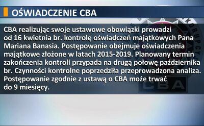 Oświadczenie CBA: kontrola oświadczeń majątkowych Banasia do drugiej połowy października