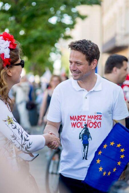 Rafał Trzaskowski podczas Marszu Wolności, maj 2018 r.