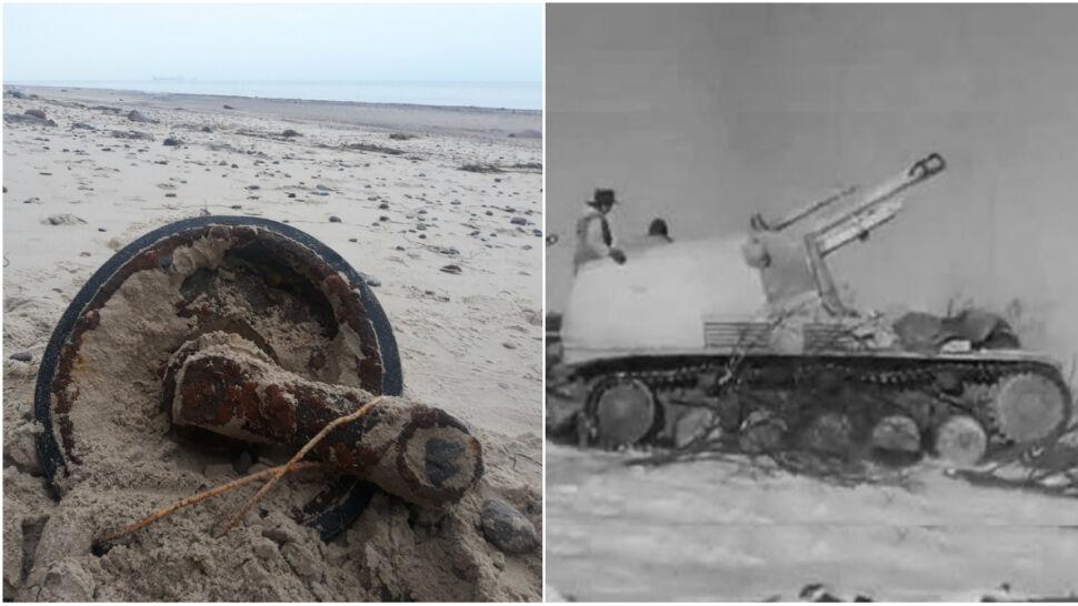 Sztorm wyrzucił na plażę fragment niemieckiego działa samobieżnego