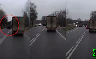 """Ciężarówka wyprzedza na krajowej """"7"""""""