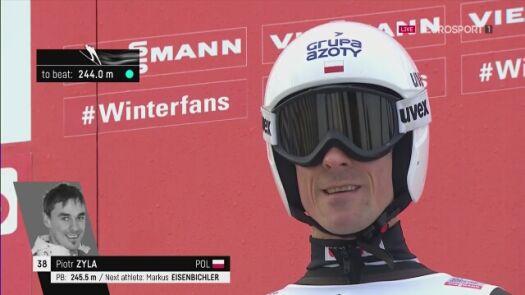 Skok Piotra Żyły z 1. serii konkursu w Vikersund