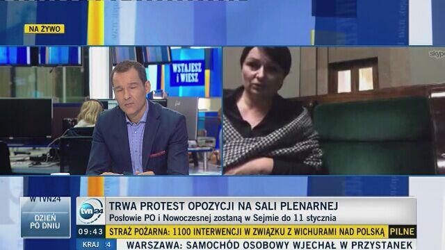 Posłanka PO relacjonuje protest w Sejmie