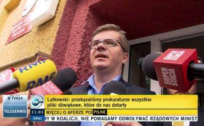 Latkowski w prokuraturze jako świadek. Przekazał całość taśm, także wątki prywatne