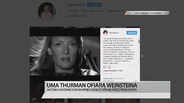 """""""Popchnął mnie na ziemię. Próbował się na mnie położyć"""". Uma Thurman przerywa milczenie"""