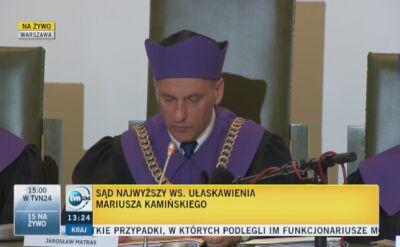 Sąd Najwyższy o sprawie Kamińskiego: prawo łaski wyłącznie wobec prawomocnie skazanych
