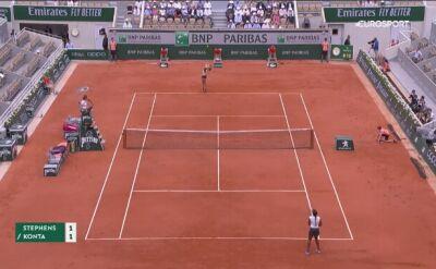 Skrót meczu Stephens - Konta w ćwierćfinale Roland Garros