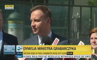 Duda: w PO bali się, że sprawa Grabarczyka zaszkodzi Komorowskiemu