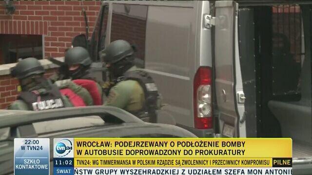 Podejrzewany o podłożenie bomby doprowadzony do prokuratury