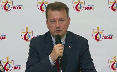 Konferencja Mariusza Błaszczaka podsumowująca trzy dni Światowych Dni Młodzieży