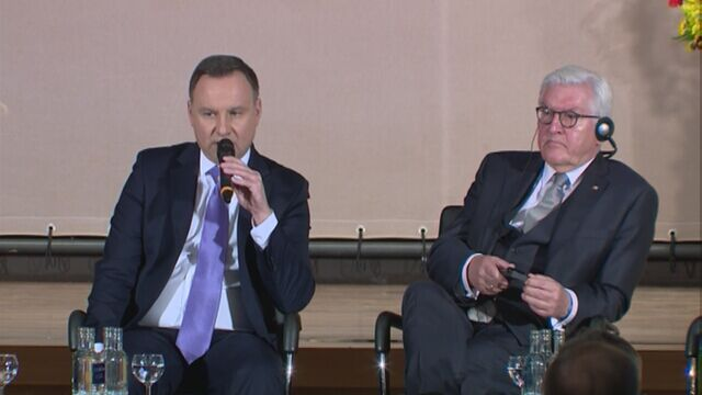 Andrzej Duda podczas debaty z prezydentem Niemiec
