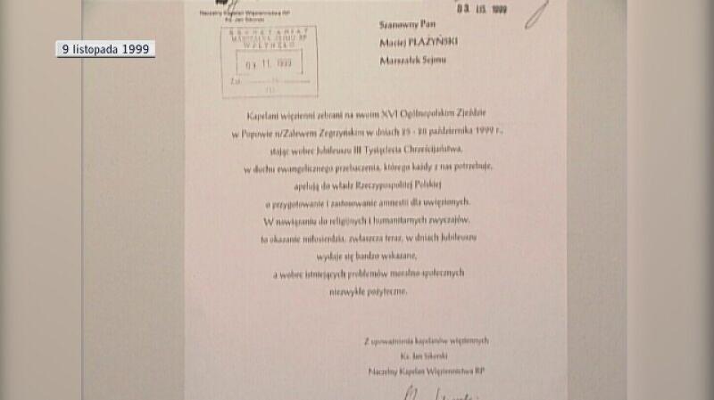 Rok 1999. Kościoły apelują o amnestię bo... Tertio Millennio Adveniente