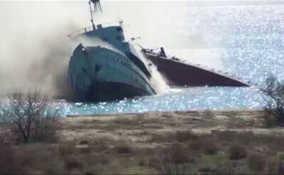 Rosjanie topią swój okręt, aby zablokować Ukraińców