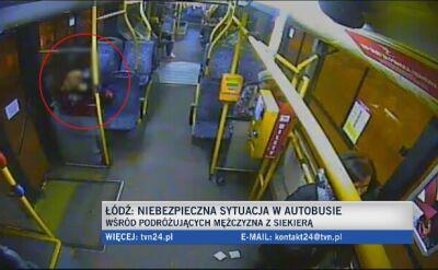 Pasażer z siekierą w autobusie