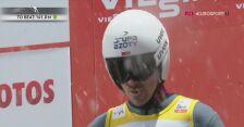 Skok Piotra Żyły z pierwszej serii konkursu drużynowego w Zakopanem
