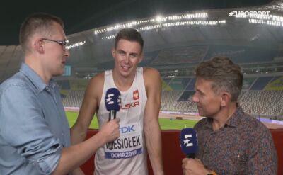 Wieloboista Paweł Wiesiołek po biegu na 1500