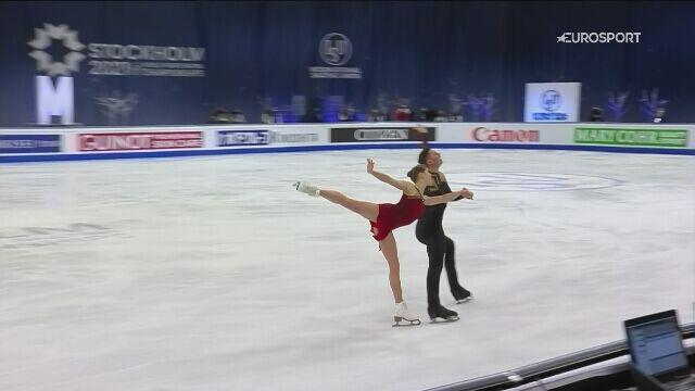 Występ Anastazji Miszyny i Aleksandra Galliamowa w konkursie par sportowych na MŚ w Sztokholmie