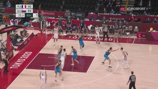 Tôkyô.  Le résultat fantastique de la France - Match de basket masculin en Slovénie