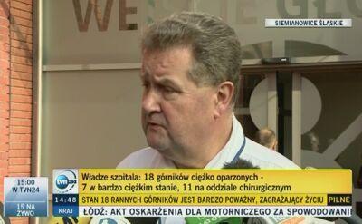 Lekarze z Centrum Leczenia Oparzeń w Siemianowicach Śląskich o stanie zdrowia górników