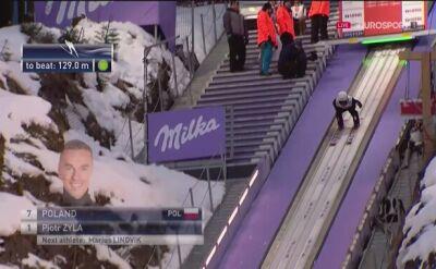 Skok Piotra Żyły z 1. serii konkursu drużynowego w Zakopanem