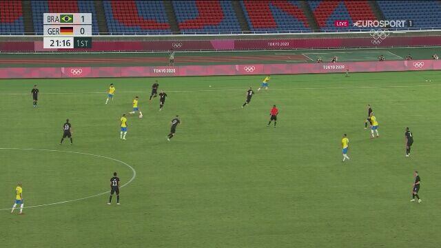 Tokio. Piłka nożna mężczyzn. Brazylia - Niemcy 2:0 (gol Richarlisona)