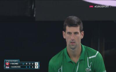 Piłka meczowa dla Novaka Djokovicia z Milosem Raoniciem