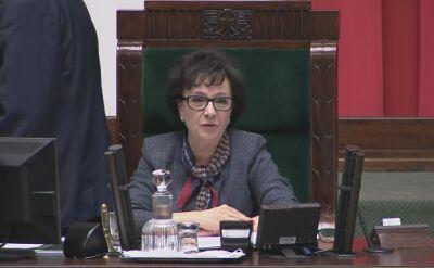 """Marszałek Witek anulowała głosowanie. Posłowie opozycji krzyczeli: """"Oszustwo!"""""""