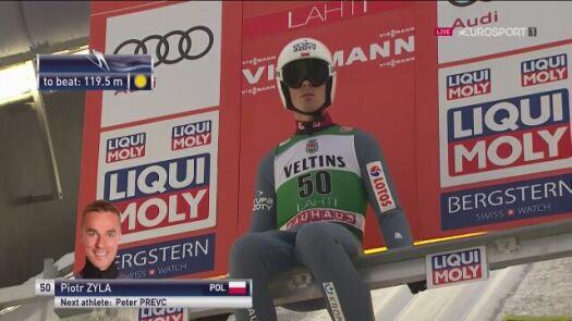 Pierwszy skok Piotra Żyły z niedzielnego konkursu w Lahti