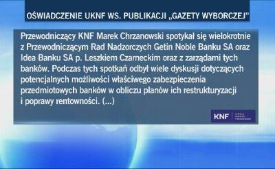"""Oświadczenie KNF w sprawie doniesień """"GW"""""""