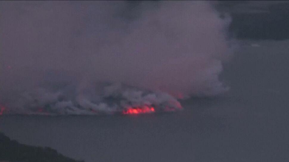 Lawa z wulkanu na wyspie na La Palma dotarła do oceanu, tworząc toksyczne gazy