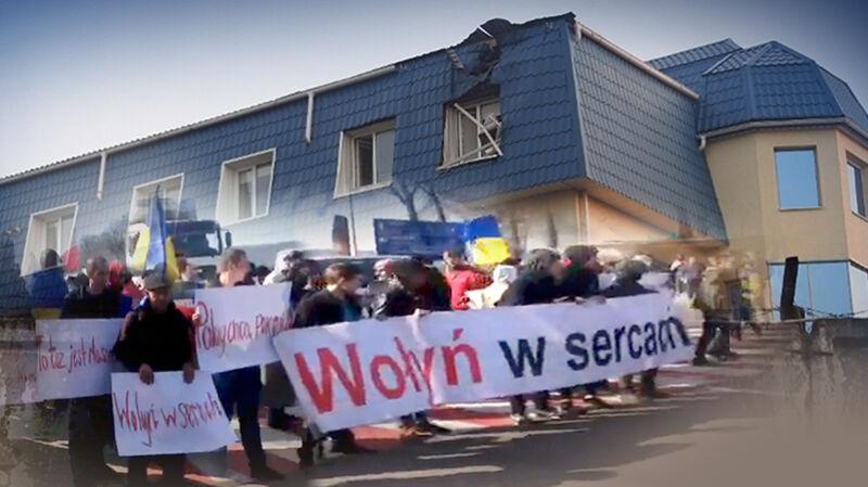 30.03.2017   Demonstranci na drodze między Lwowem a Rawą Ruską udawali Polaków