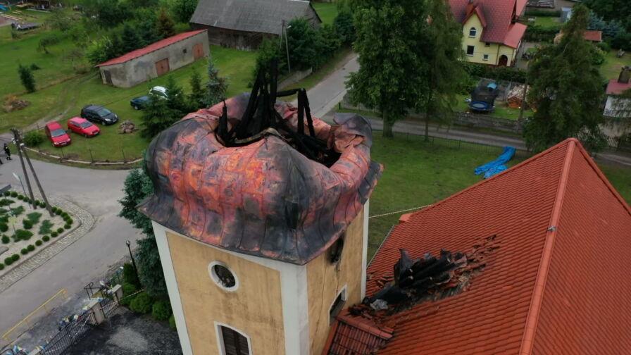 Pożar strawił iglicę kościoła