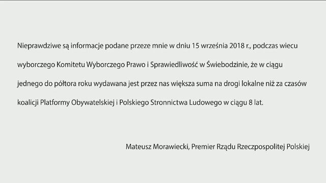 Sprostowanie przygotowane przez premiera Morawieckiego