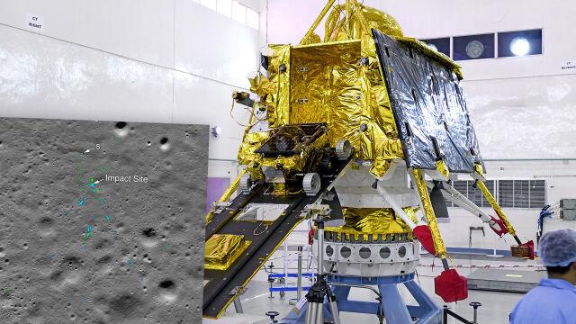 Szczątki indyjskiego lądownika Vikram na Księżycu.
