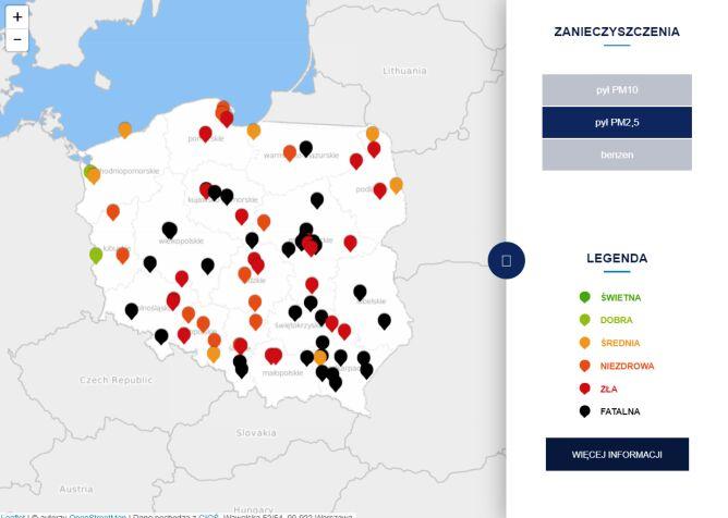Stężenie pyłu PM2,5 po godzinie 21.30 (tvnmeteo.pl za GIOŚ)