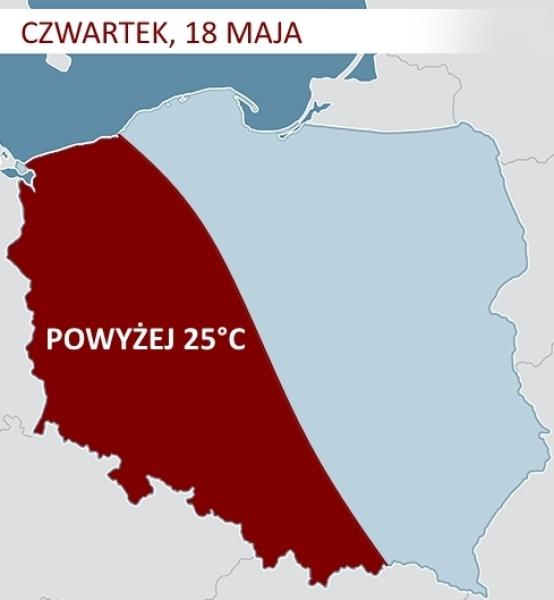 Gorące powietrze nad Polską w czwartek