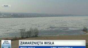 Wisła zamarza od brzegu do brzegu (TVN24)